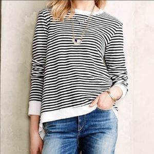 Anthro Left Of Center Striped Parker Sweatshirt